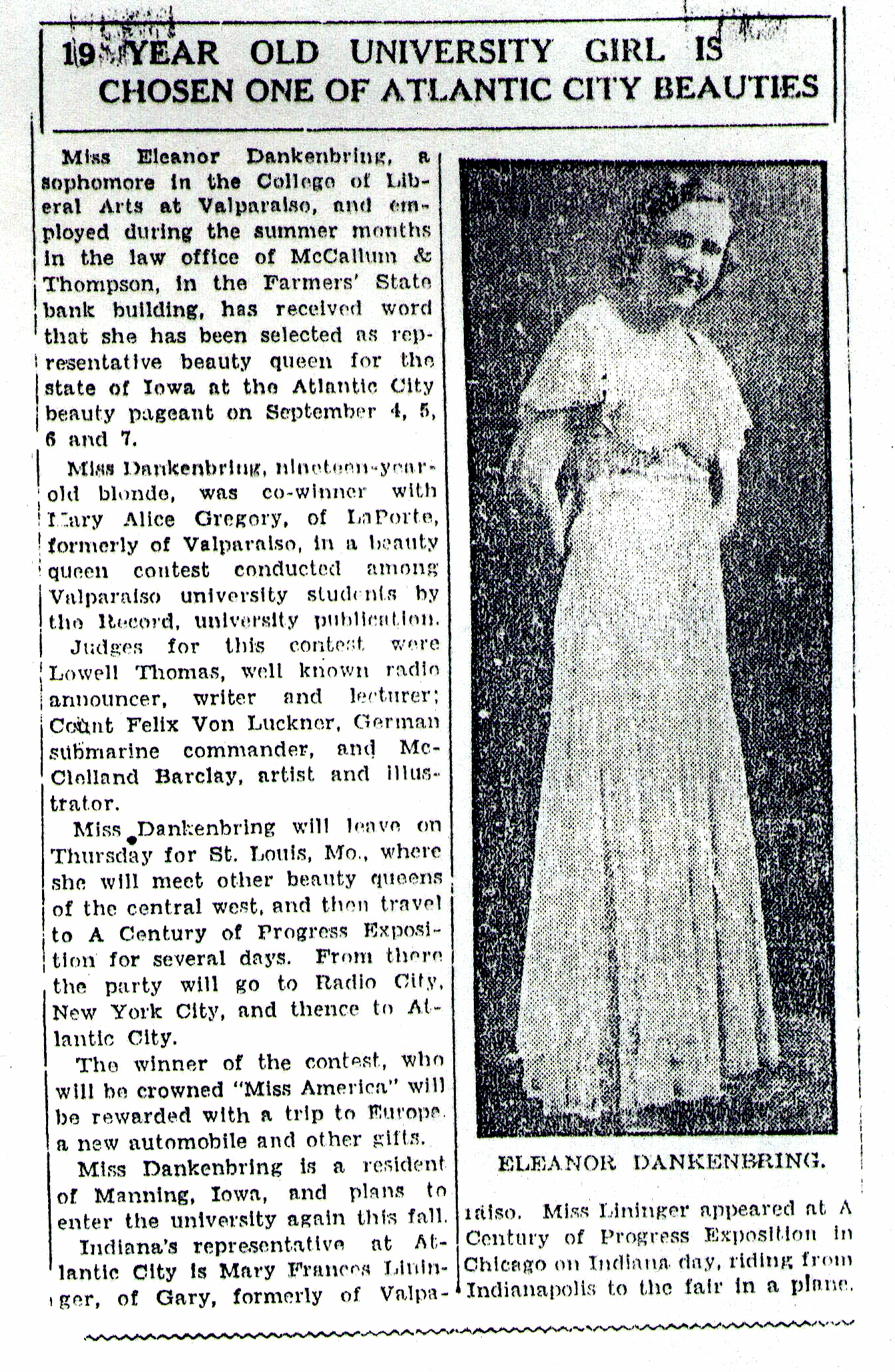 Article Fashion Google Search: Miss America 1933 MidWest Whistle Stop Tour